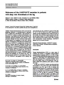 Relevance of the JAK2V617F mutation in patients with ... - Springer Link
