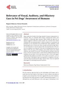 Relevance of Visual, Auditory, and Olfactory Cues in Pet Dogs ...