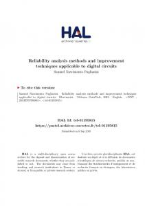 Reliability analysis methods and improvement