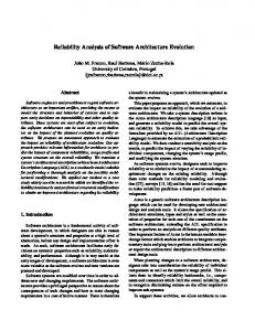 Reliability Analysis of Software Architecture ... - Semantic Scholar