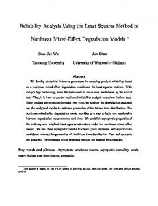 Reliability Analysis Using the Least Squares Method in ... - CiteSeerX