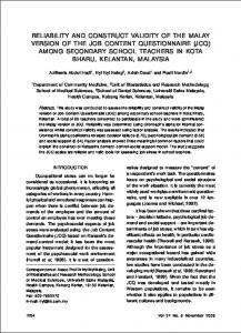 reliability and construct validity of the malay ... - Semantic Scholar