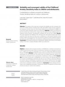 Reliability and convergent validity of the Childhood Anxiety ... - Core