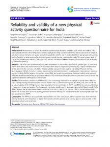 Reliability and validity of a new physical activity ... - Semantic Scholar