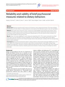 Reliability and validity of brief psychosocial measures ... - Springer Link