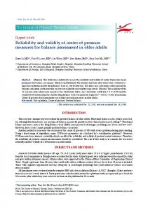 Reliability and validity of center of pressure measures for balance