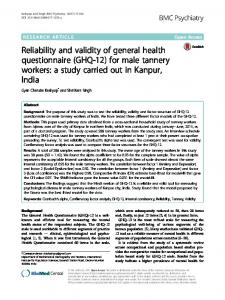 Reliability and validity of general health questionnaire (GHQ-12) - Core