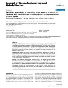 Reliability and validity of pendulum test measures of spasticity ...