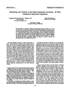 Reliability and Validity of the Beck Depression ... - Semantic Scholar