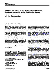 Reliability and Validity of the Complex Postformal