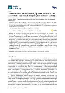 Reliability and Validity of the Japanese Version of the ... - MDPI