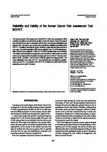 Reliability and Validity of the Korean Cancer Pain ... - BioMedSearch