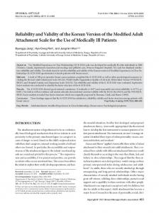 Reliability and Validity of the Korean Version of ... - KoreaMed Synapse