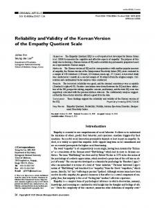 Reliability and Validity of the Korean Version of the ... - BioMedSearch
