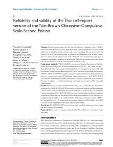 reliability and validity of the Thai self-report version ... - Semantic Scholar