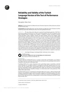 Reliability and Validity of the Turkish Language Version of the Test of ...