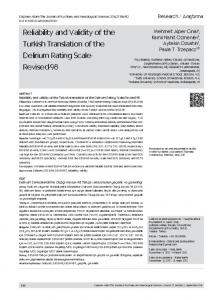 Reliability and Validity of the Turkish Translation of the ... - eJManager