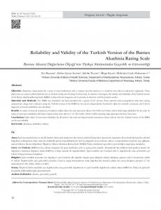 Reliability and Validity of the Turkish Version of the ... - JournalAgent