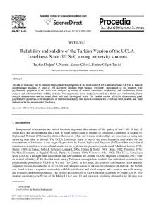 Reliability and validity of the Turkish Version of the UCLA Loneliness ...
