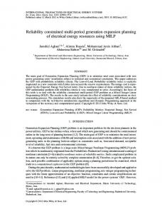 Reliability constrained multiperiod generation ... - Wiley Online Library