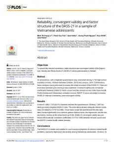 Reliability, convergent validity and factor structure of the DASS ... - PLOS