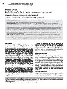 Reliability of a food menu to measure energy and ... - Nature