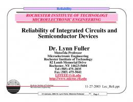 Reliability of Integrated Circuits and Semiconductor ... - People