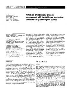 Reliability of intraocular pressure measurement with the ... - Core