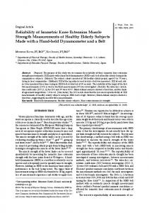 Reliability of Isometric Knee Extension Muscle Strength ... - J-Stage