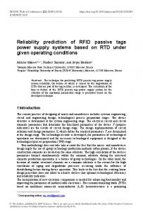 Reliability prediction of RFID passive tags power supply systems