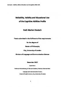 Reliability, Validity and Educational Use of the