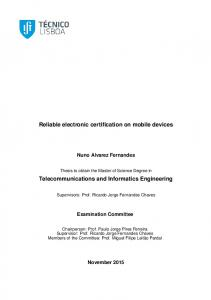 Reliable electronic certification on mobile devices ...