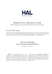 Reliable Service Allocation in Clouds - HAL-Inria