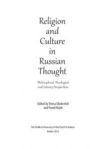 Religion and Culture in Russian Thought