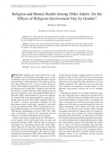 Religion and Mental Health Among Older Adults - Semantic Scholar