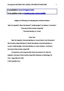 Religion and Well-being: The Mediating Role of Positive Emotions