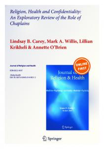Religion, Health and Confidentiality: An Exploratory ...