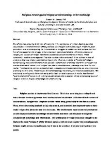 Religious meanings and religious understandings in ...