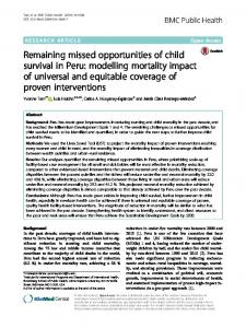 Remaining missed opportunities of child survival ... - Countdown to 2030