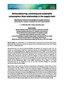 Remanufacturing, marketing and sustainable consumption: New ...