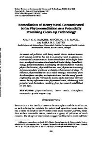 Remediation of Heavy Metal Contaminated Soils: Phytoremediation ...