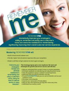 Remember Me Brochure - customer service training customer ...