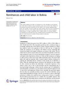 Remittances and child labor in Bolivia | IZA Journal of Development ...