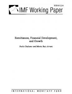 Remittances, Financial Development, and Growth, by Paola ... - IMF
