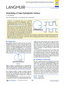 Remodeling of Super-hydrophobic Surfaces - American Chemical ...