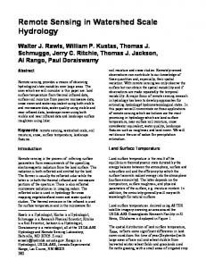 Remote Sensing in Watershed Scale Hydrology - Southwest ...