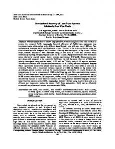 Removal and Recovery of Lead from Aqueous Solution by ... - CiteSeerX