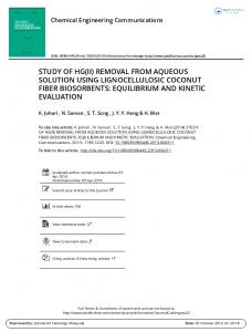 removal from aqueous solution using lignocellulosic ...