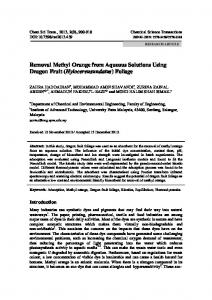 Removal Methyl Orange from Aqueous Solutions Using Dragon Fruit ...
