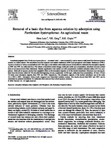 Removal of a basic dye from aqueous solution by adsorption using ...